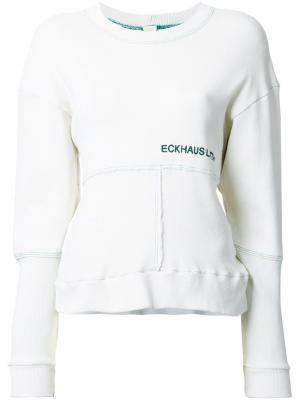 Толстовка с логотипом Eckhaus Latta. Цвет: белый