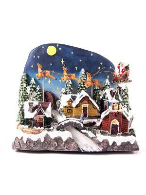 Новогодняя композиция с подсветкой ночь Русские подарки. Цвет: черный, белый, синий