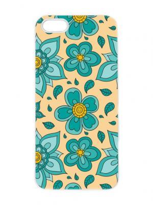 Чехол для iPhone 5/5s Зеленые цветы на желтом Арт. IP5-183 Chocopony. Цвет: белый, бирюзовый, желтый
