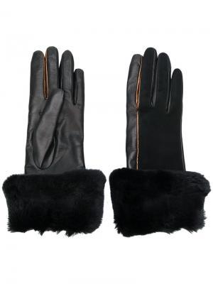 Перчатки с меховой оторочкой Gala. Цвет: чёрный