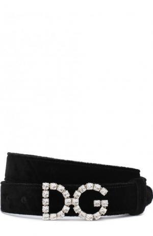 Ремень из смеси вискозы и шелка фигурной пряжкой с кристаллами Dolce & Gabbana. Цвет: черный
