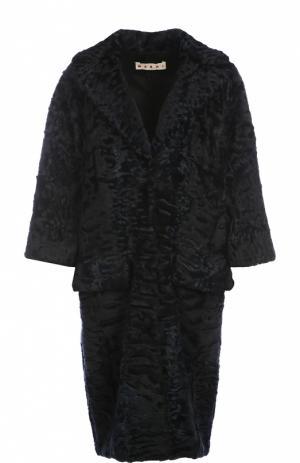 Меховое пальто с укороченным рукавом и широкими лацканами Marni. Цвет: темно-синий