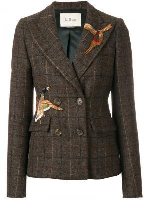 Двубортный пиджак с заплатками птицами Mulberry. Цвет: коричневый