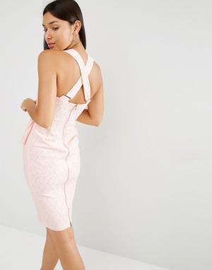 Lavish Alice Облегающее платье миди. Цвет: розовый