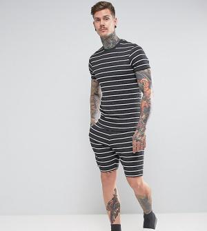 ASOS Пижамный комплект с обтягивающей футболкой и шортами в полоску. Цвет: серый