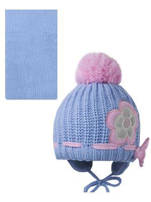 Шапка, шарф Pro-han. Цвет: голубой, розовый