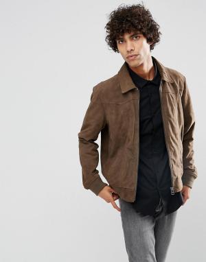 Goosecraft Серо-коричневая замшевая куртка. Цвет: коричневый