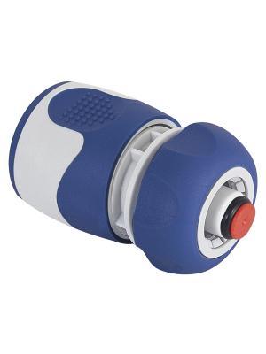 Коннектор с аквастопом для шланга 12 мм (1/2), пластик, TPR GREEN APPLE. Цвет: белый, синий