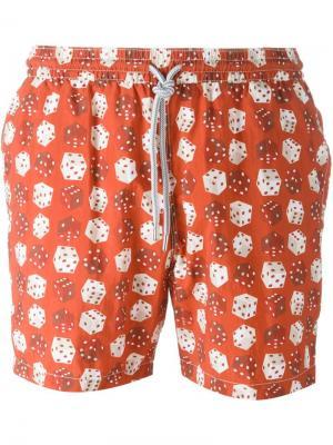Плавательные шорты с принтом игральных костей Capricode. Цвет: красный