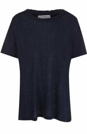 Льняная футболка свободного кроя Iro. Цвет: темно-синий