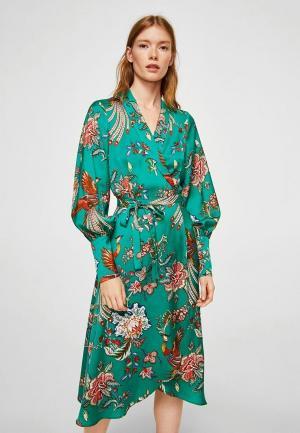 Платье Mango. Цвет: бирюзовый