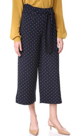 Укороченные брюки в горошек Whistles. Цвет: темно-синий