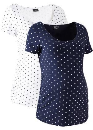 Мода для беременных: футболка с коротким рукавом (2 шт.) (белый в горошек/темно-синий горошек) bonprix. Цвет: белый в горошек/темно-синий в горошек