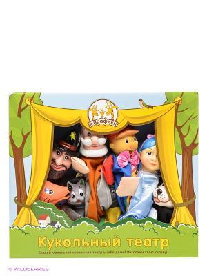 Кук. Театр Буратино, 8 кукол Жирафики. Цвет: белый, синий, серый, голубой, красный, оранжевый, желтый