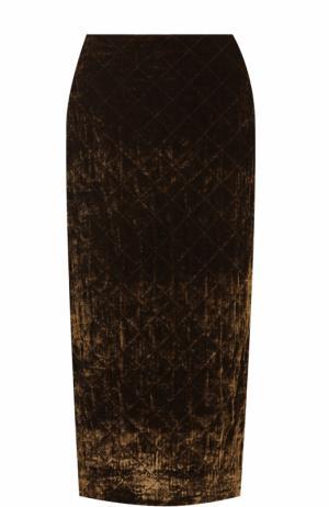 Бархатная юбка-карандаш Dries Van Noten. Цвет: коричневый