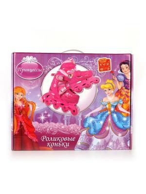 Ролики раздв.Принцессы, пластик. рама, 608 Z, колеса PVC, р-р 28-31. Next. Цвет: бледно-розовый, розовый