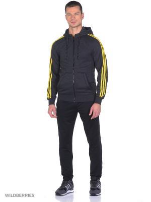 Толстовка ESS 3S FZ HOODB Adidas. Цвет: темно-серый, желтый