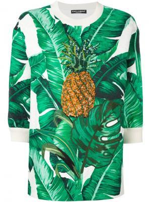 Декорированная жаккардовая толстовка Dolce & Gabbana. Цвет: зелёный