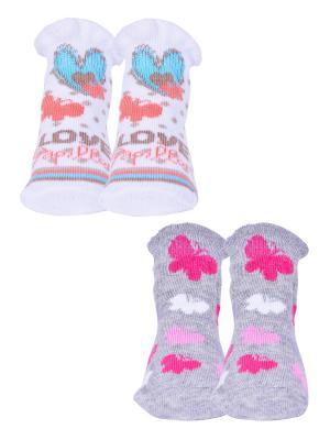 Носки, 2 пары Malerba. Цвет: серый, белый