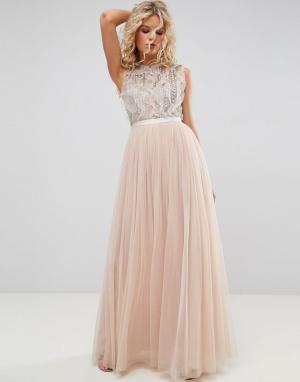Needle & Thread Декорированное платье с оборками. Цвет: розовый