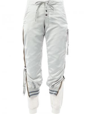 Укороченные двухслойные брюки Greg Lauren. Цвет: серый