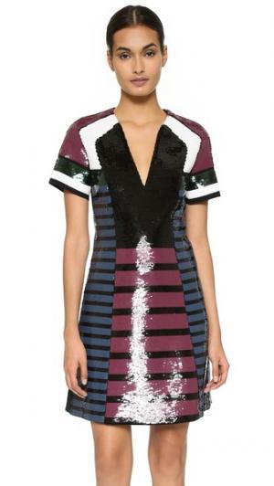 Платье с короткими рукавами, украшенное блестками Cedric Charlier. Цвет: мульти
