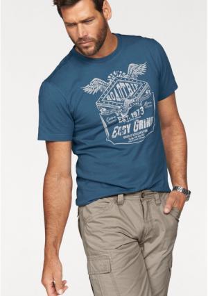 Футболка Arizona. Цвет: джинсовый синий