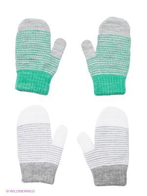 Варежки, 2 пары FOMAS. Цвет: зеленый, светло-серый, белый