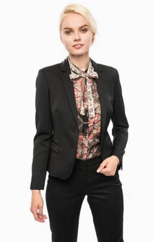 Черный приталенный пиджак в горошек Cinque. Цвет: черный