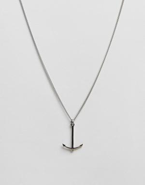Simon Carter Ожерелье из нержавеющей стали с якорем. Цвет: серебряный