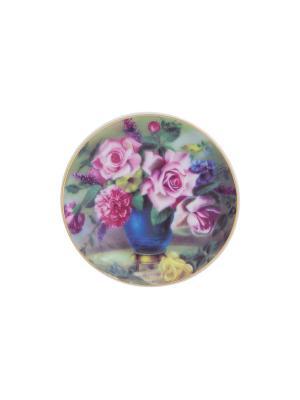 Тарелка декоративная Букет в синей вазе Elan Gallery. Цвет: синий, зеленый, розовый