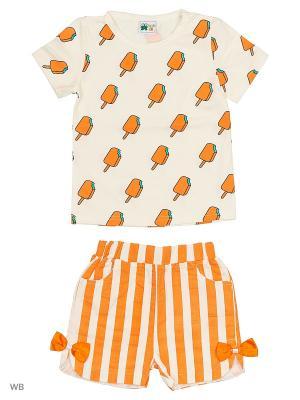 Комплект: футболка и шорты Sago Kids i Ant Domain. Цвет: белый, оранжевый