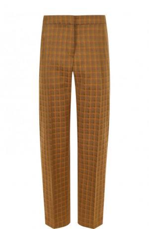 Укороченные брюки в клетку со стрелками Dries Van Noten. Цвет: песочный