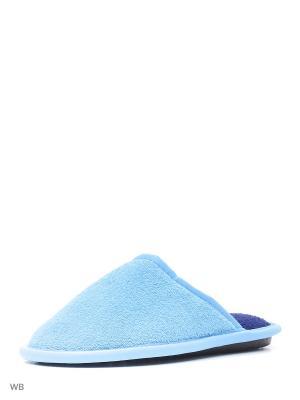 Туфли комнатные с верхом из текстильных материалов детские и подростковые. BRIS. Цвет: голубой