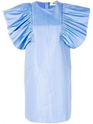 Платье с большими оборками на рукавах MSGM. Цвет: синий