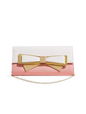 Кожаный клатч конверт Нежная Панна Котта со съемной цепочкой Nothing but Love. Цвет: белый, розовый