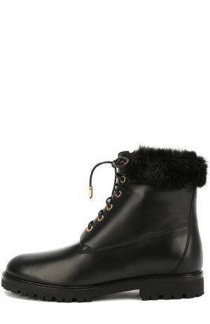 Кожаные ботинки  Heilbrunner с меховой отделкой Aquazzura. Цвет: черный