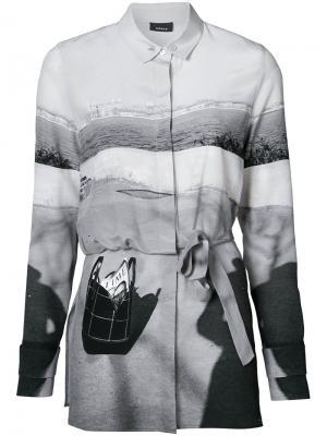 Рубашка на пуговицах с поясом Akris. Цвет: чёрный