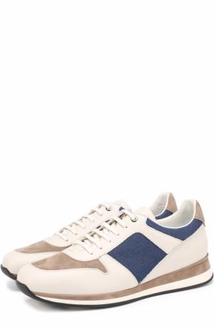 Комбинированные кроссовки на шнуровке Ermenegildo Zegna. Цвет: бежевый