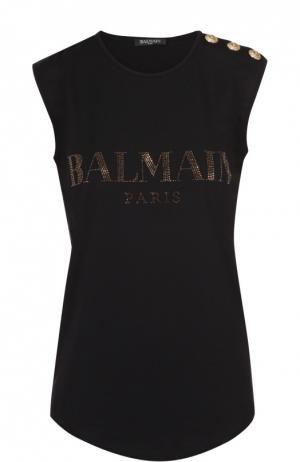 Топ без рукавов с логотипом бренда и декоративной отделкой Balmain. Цвет: черный
