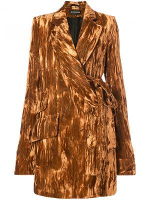 Пальто-тренч с поясом Ann Demeulemeester. Цвет: жёлтый и оранжевый