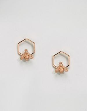 Bill Skinner Покрытые розовым золотом серьги с шестиугольником и пчелой Skinne. Цвет: золотой