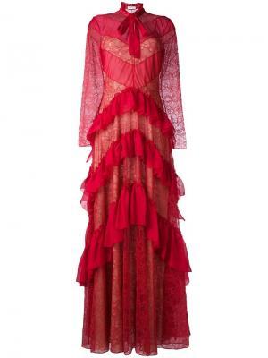 Платье с оборками и кружевными вставками Zuhair Murad. Цвет: красный