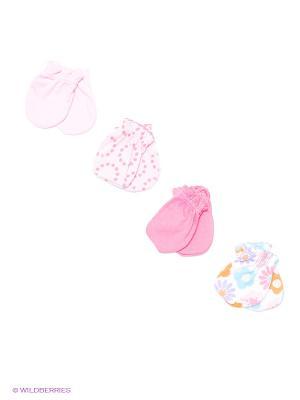 Антицарапки, 4 пары Luvable Friends. Цвет: белый, бледно-розовый, розовый