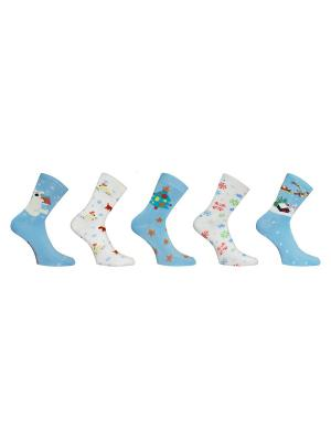 Носки 5 пар Master Socks. Цвет: голубой, белый