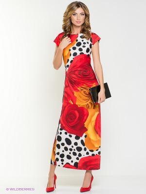 Платье МадаМ Т. Цвет: красный, оранжевый, белый