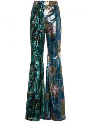 Широкие брюки с пайетками Halpern. Цвет: многоцветный