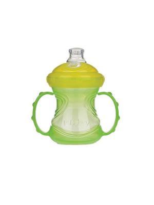 Чашка-поильник,  240 мл, силиконовый носик, съемные ручки NUBY. Цвет: салатовый, желтый