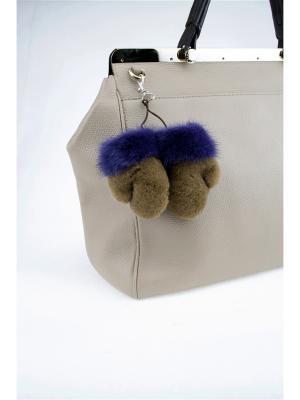 Брелок Меховые-рукавички Mex-Style. Цвет: светло-коричневый, фиолетовый