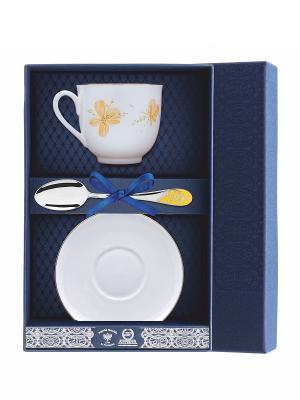 Набор чайный Ландыш-Желтые цветы 3 предмета АргентА. Цвет: серебристый